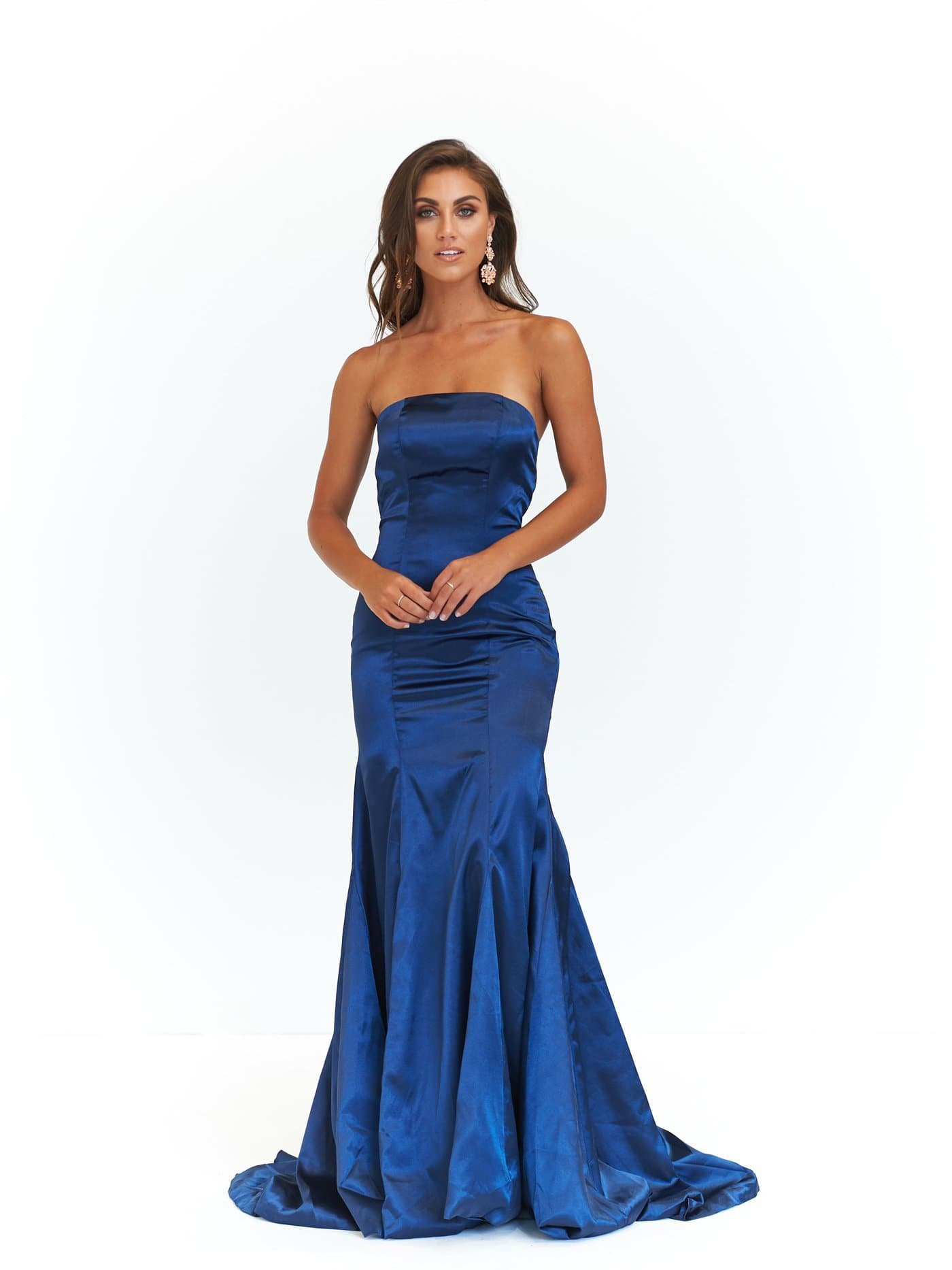 A&N Aino - Navy Satin Strapless Formal gown with Mermaid Train