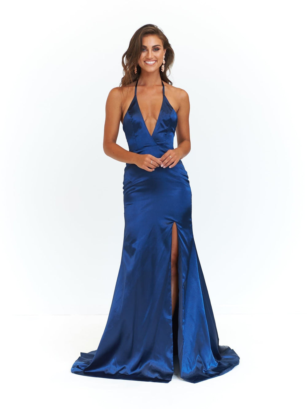 09852f2c27 A N Alyssa - Navy Satin Formal Gown with V Neck and Low Back – A N ...