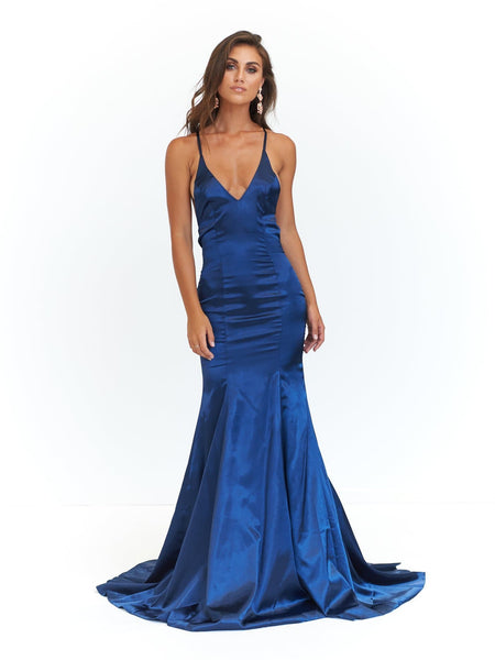 Bahar Formal Dress - Navy Satin V Neck Criss Cross Full Length Gown