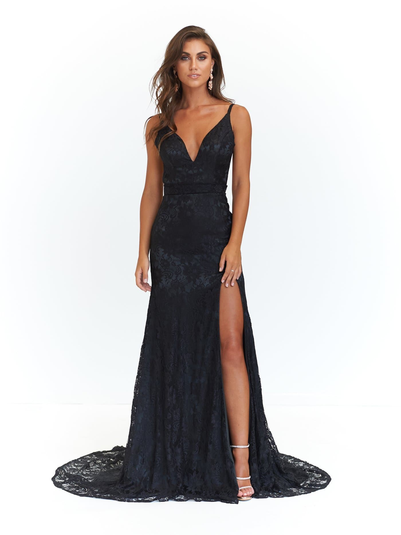 Ayla Formal Dress - Black Lace V Neck Mermaid Gown with Split