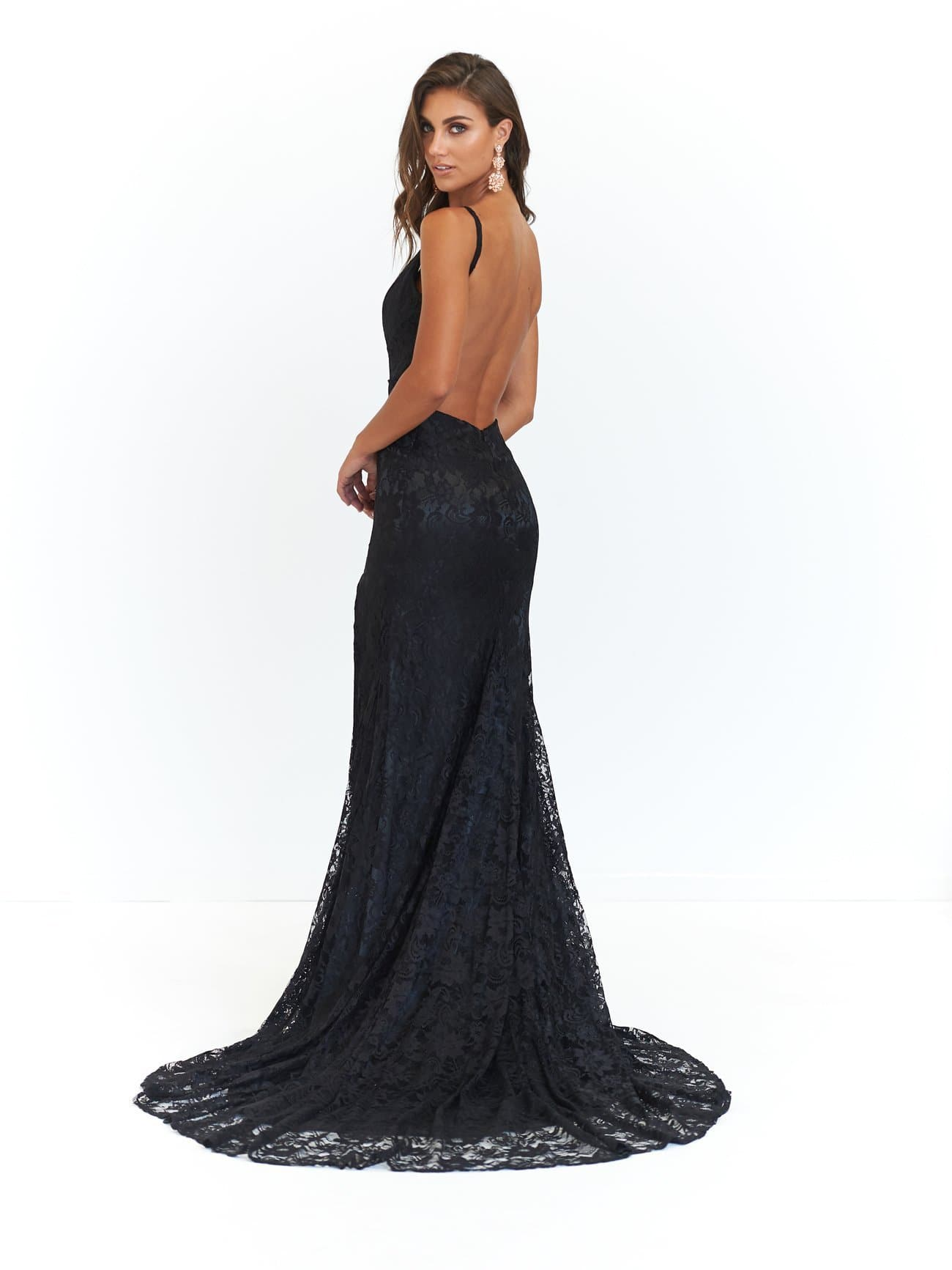 A&N Ayla - Black Lace V Neck Gown with Mermaid Train and Front Split
