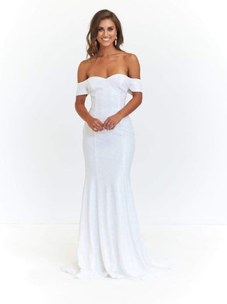 In stock - Kim Sequin Gown - White