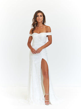 A&N Leyla - White Off-Shoulder Lace Gown with Side Slit