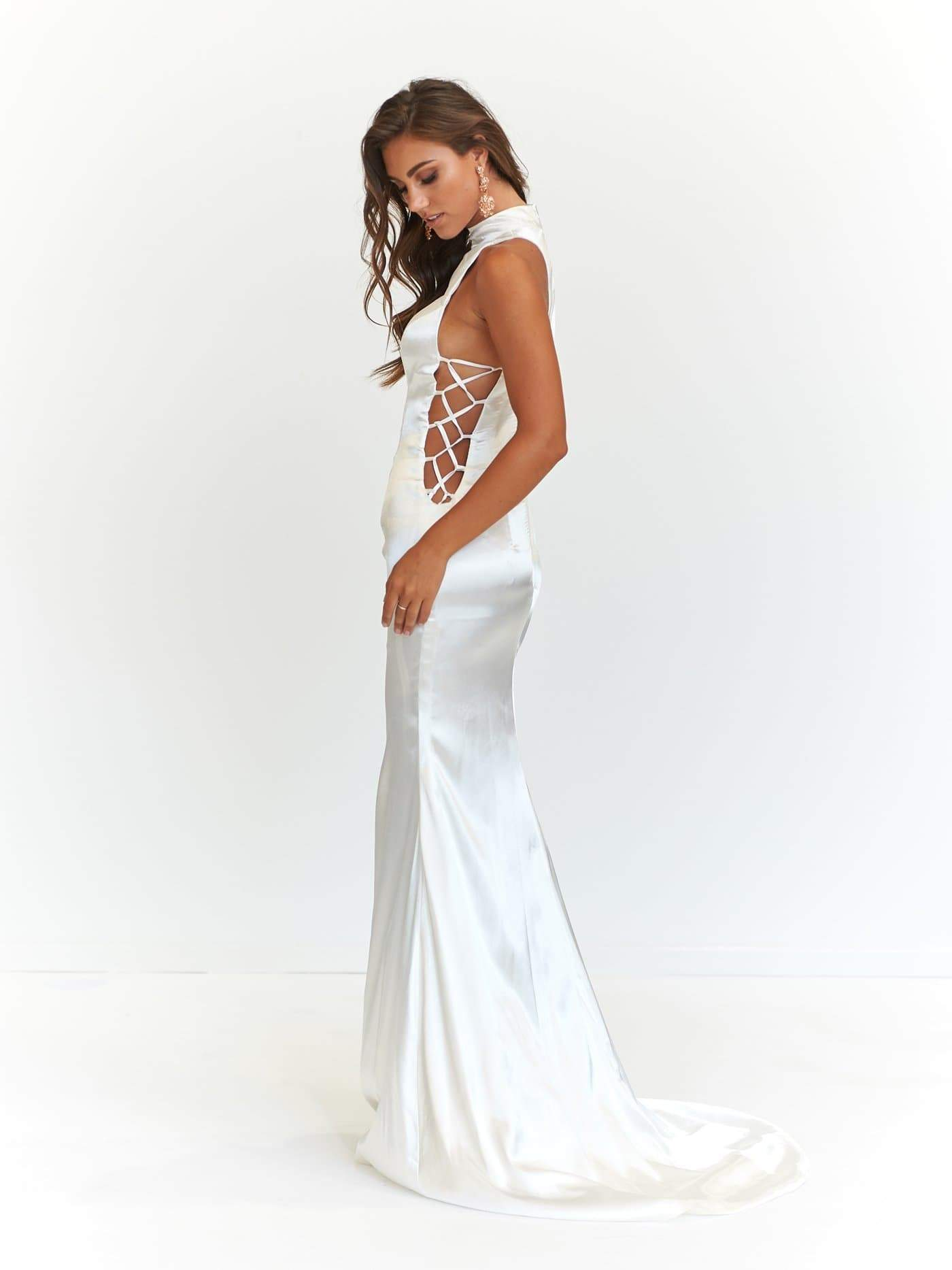 A&N Aida - White Satin High Neck Gown with Criss Cross Side Detail