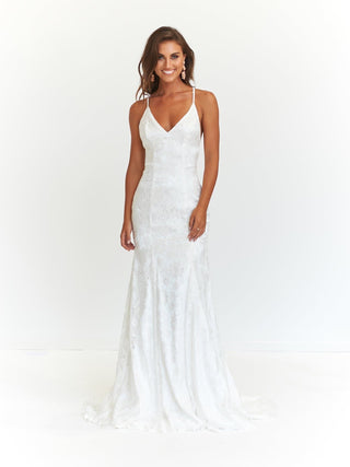 A&N Aisha - White Lace Up Mermaid Gown with Low Back