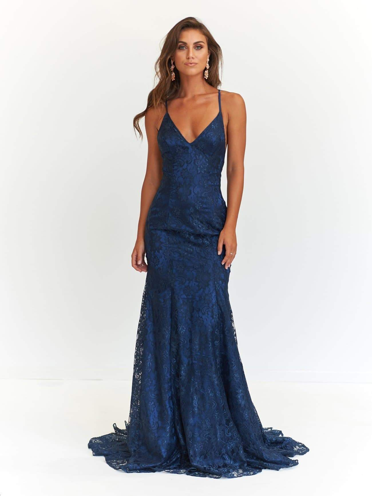 A&N Aisha - Navy Lace Gown with Tie Up Back and Mermaid Train