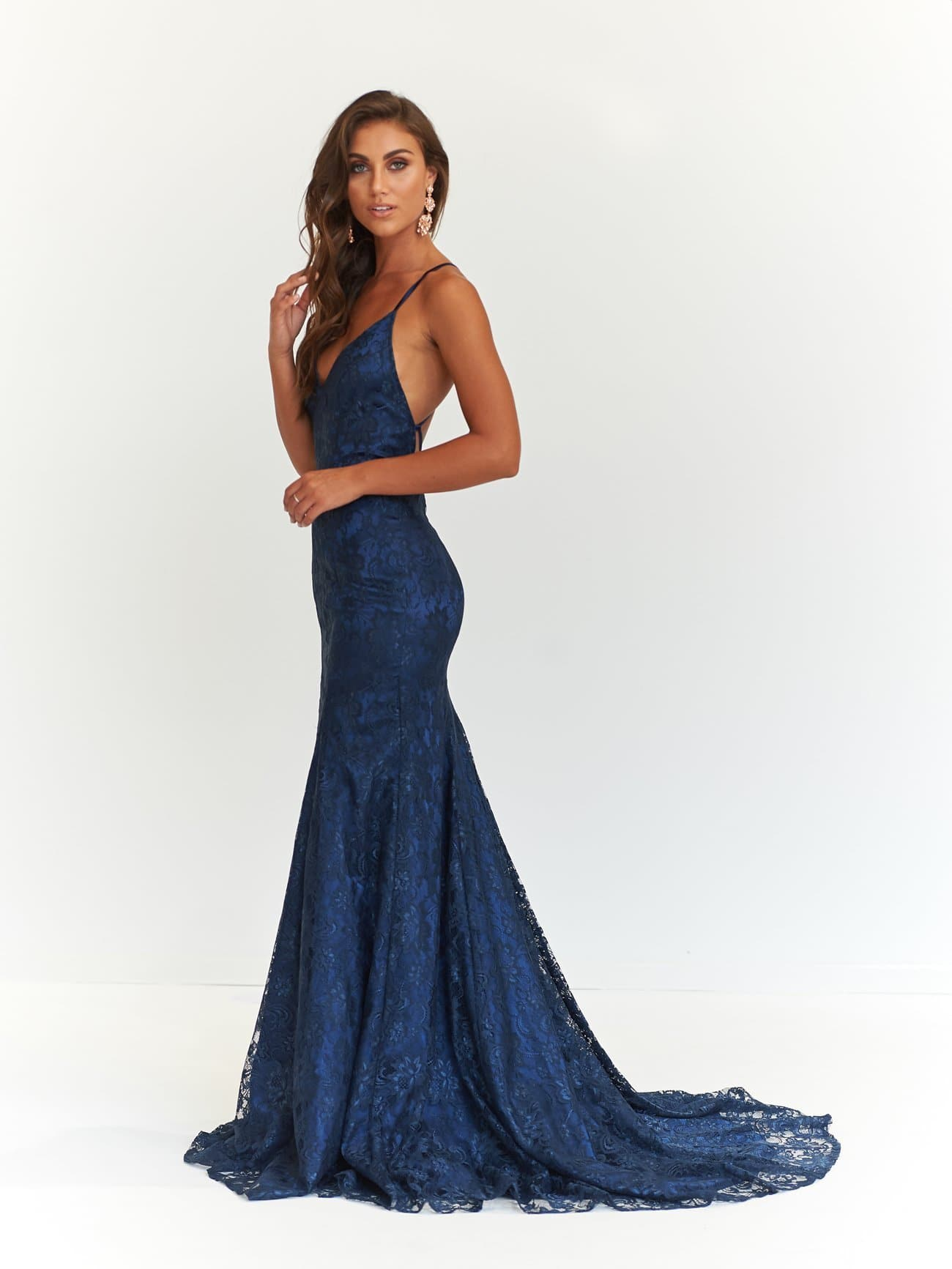 A&N Luxe Aisha Gown - Navy Lace Up Mermaid Gown with Low Back