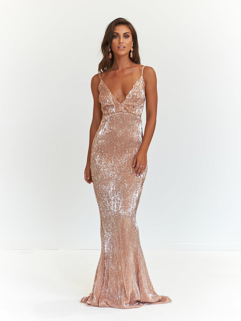 Rose Gold Sparkling V Neck Maxi Prom Gown - Cynthia Formal Dress ...