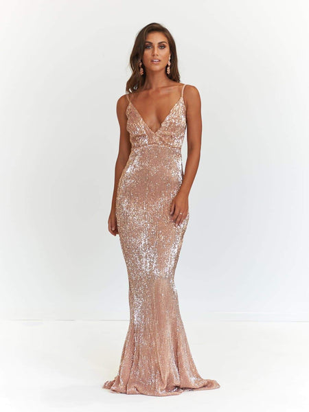 A&N Luxe Tyra Glitter Cape Gown - Rose Gold