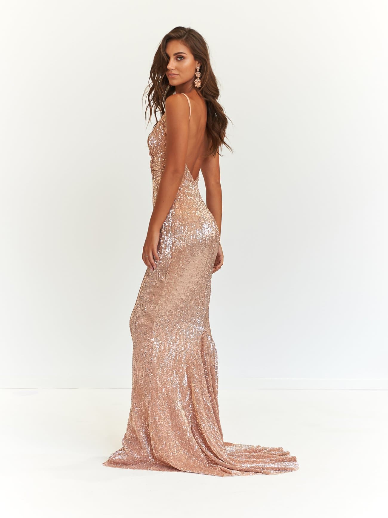 Cynthia Formal Dress - Rose Gold Sparkling V Neck Low Back Maxi Gown