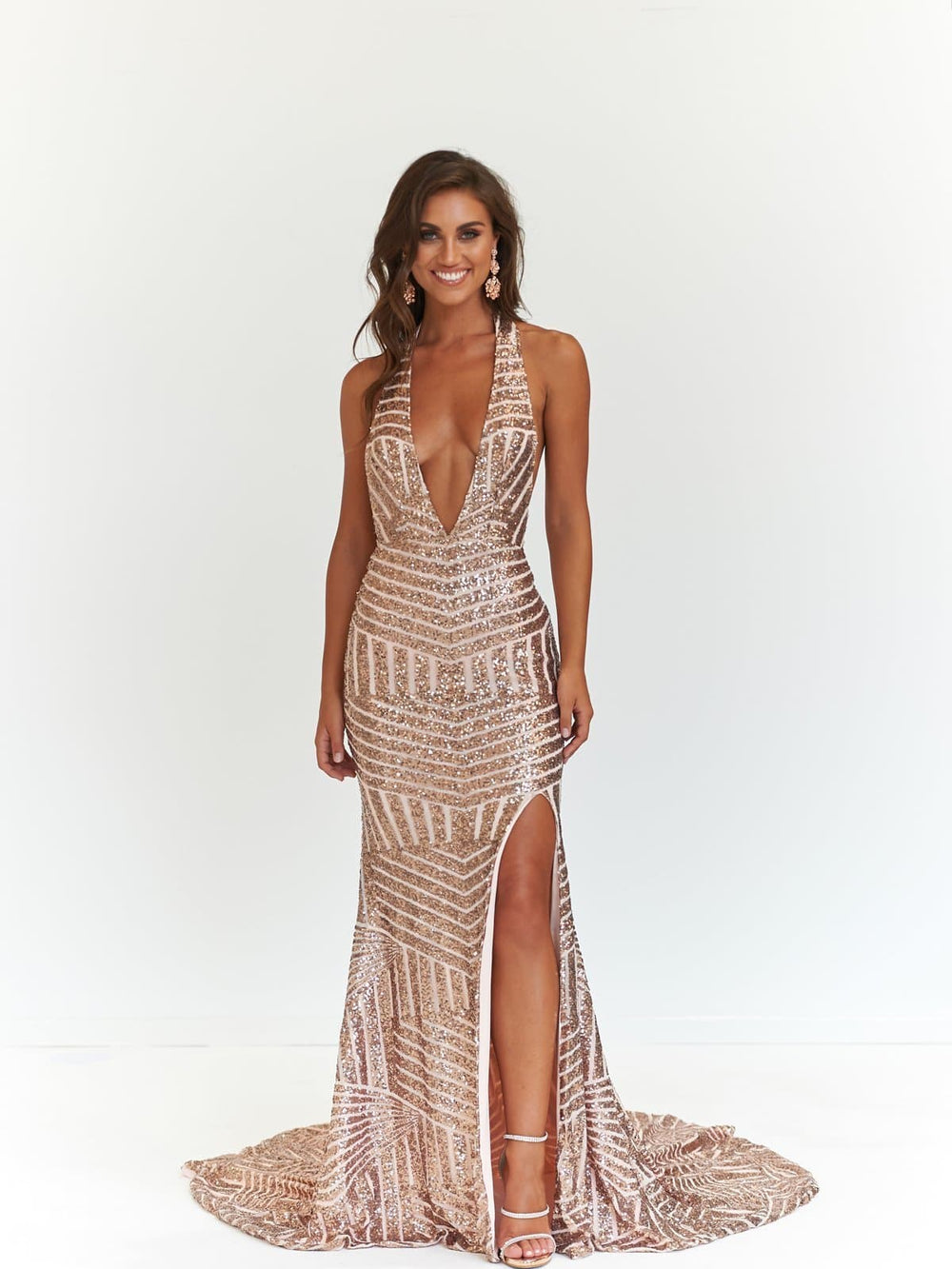 Cleopatra Formal Dress - Rose Gold Sequins V Neck Maxi Slit Mermaid Gown