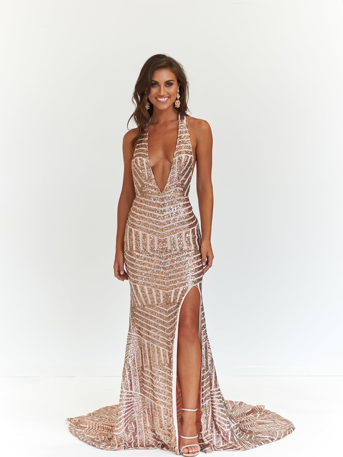 934d791b Cleopatra Formal Dress - Rose Gold Sequins V Neck Maxi Slit Mermaid Gown ...
