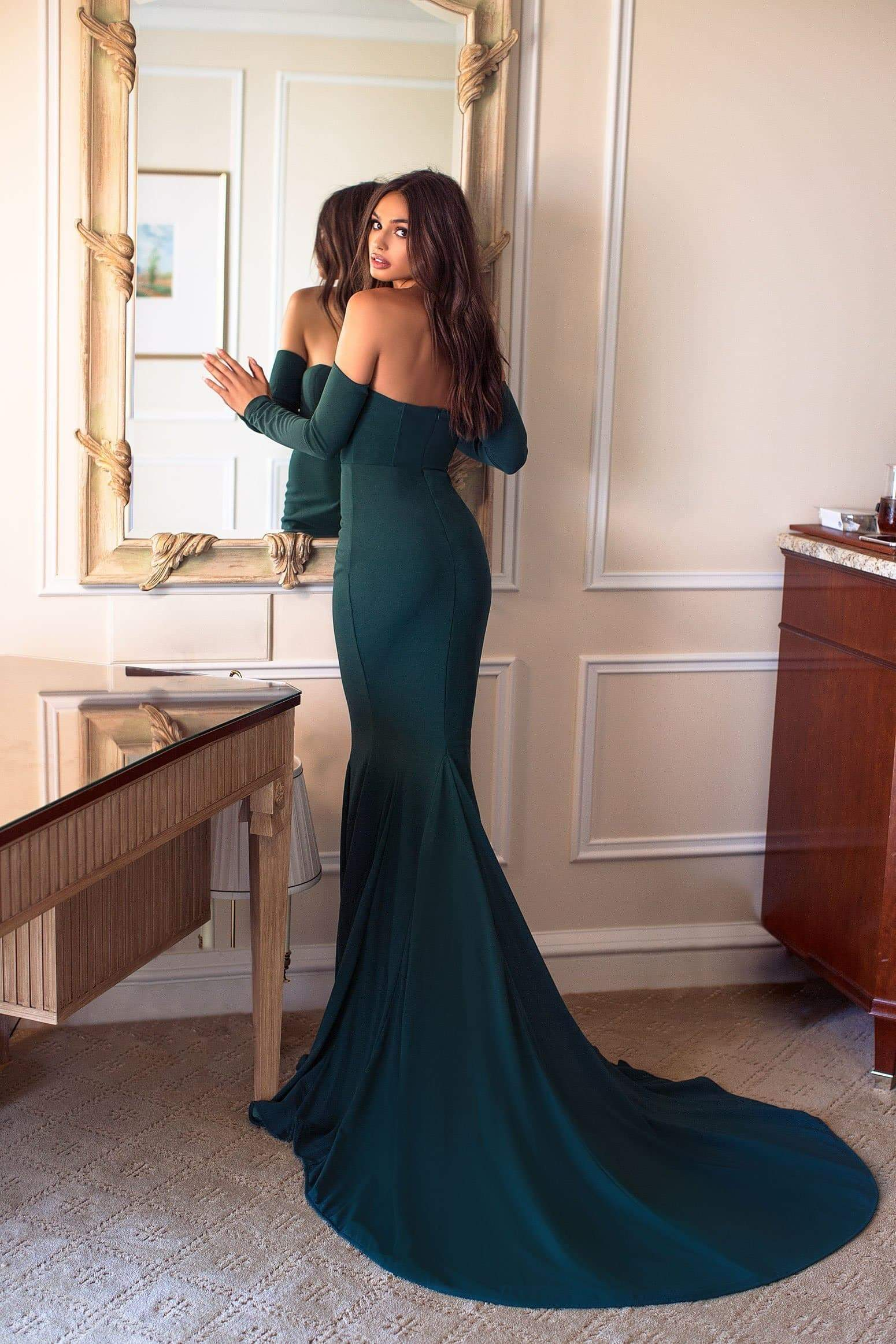 Salma - Emerald Off Shoulder Dress in Crepe Fabric with Padded Cups