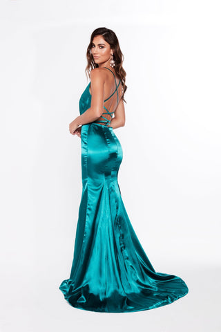 A&N Miranda - Satin Turquoise Gown with Lace Up Back