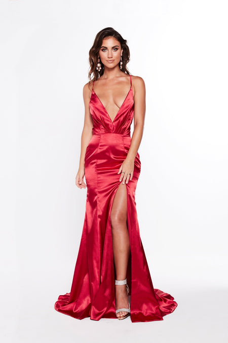 Fabriza Jersey Gown - Wine Red