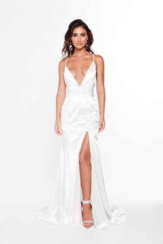 A&N Miranda - White Satin Gown with Plunging Neckline and Side Slit