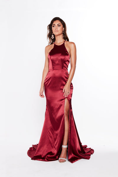 A&N Luxe Kiara Satin Wine Gown Prom Gown Formal Dress