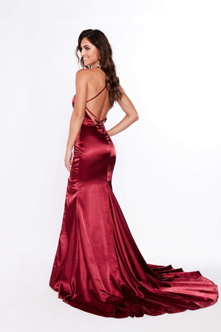 A&N Kiara - Wine Red Satin Gown with Lace up Back and Side Slit
