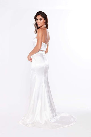 A&N Ivanna - White Satin Two Piece Formal Gown with Side Slit