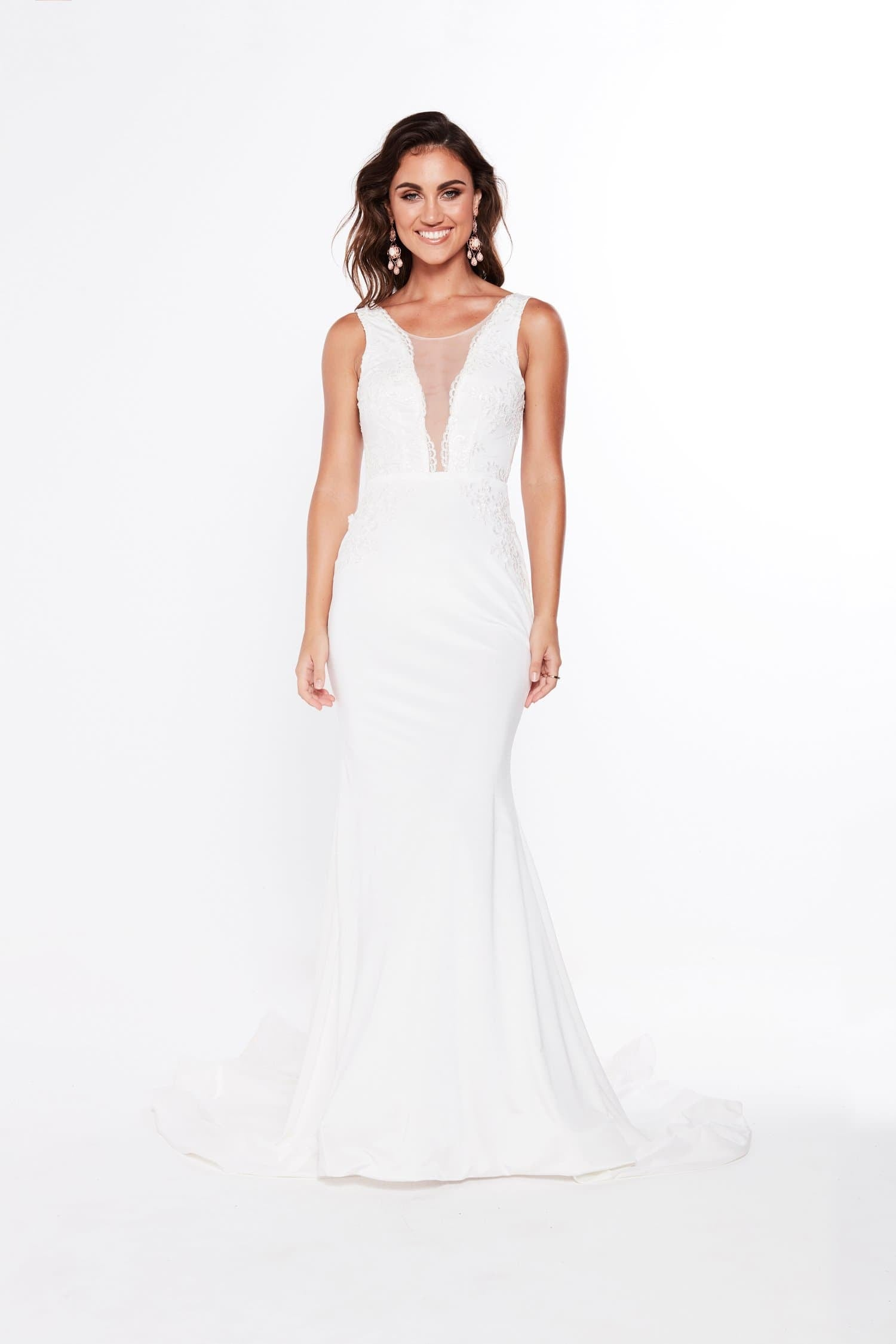 A&N Juana - White Lace Jersey Bridal Gown with Plunge neck & Low Back