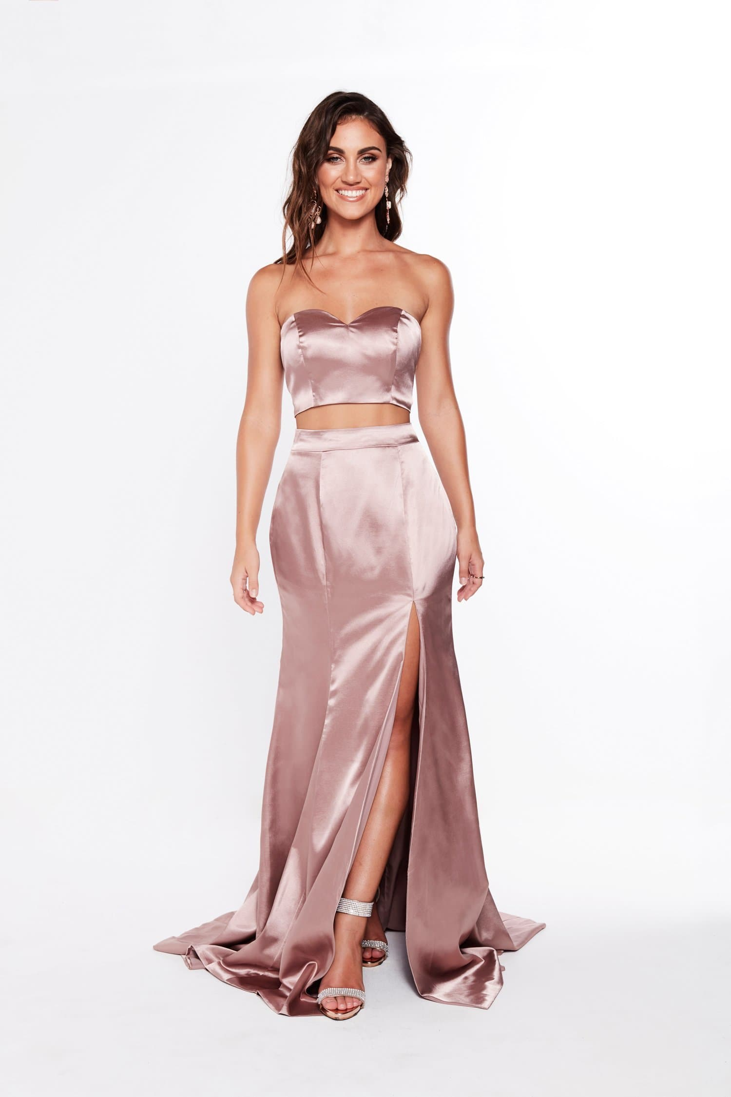 A&N Luxe Ivanna Satin Mauve Prom Two Piece Formal Two Piece