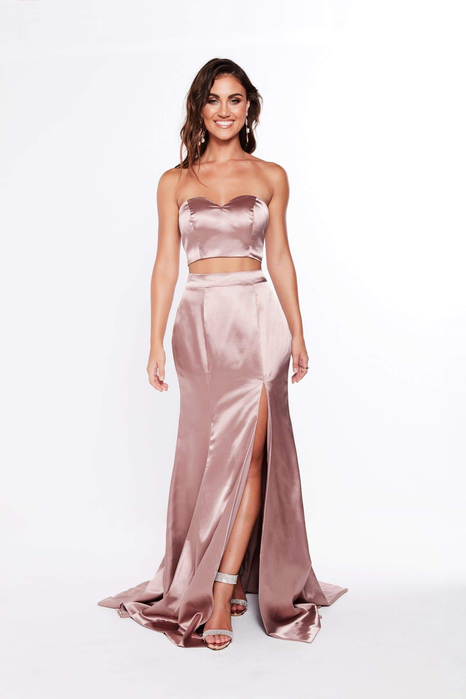 A&N Ivanna - Satin Mauve Two Piece Formal Gown with Side Slit