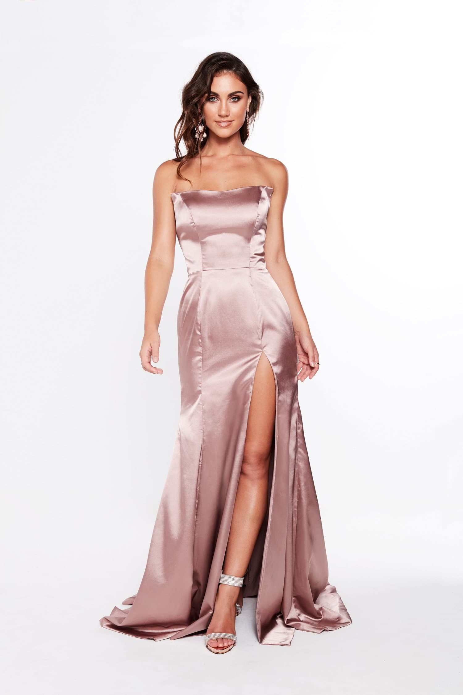 415c9b1a9dea A&N Amelia - Strapless Satin Formal gown with Side Slit in Mauve ...