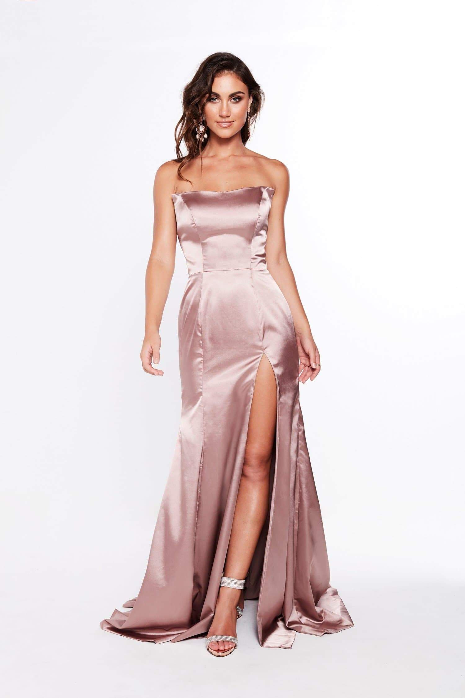 A&N Amelia - Strapless Satin Formal gown with Side Slit in Mauve