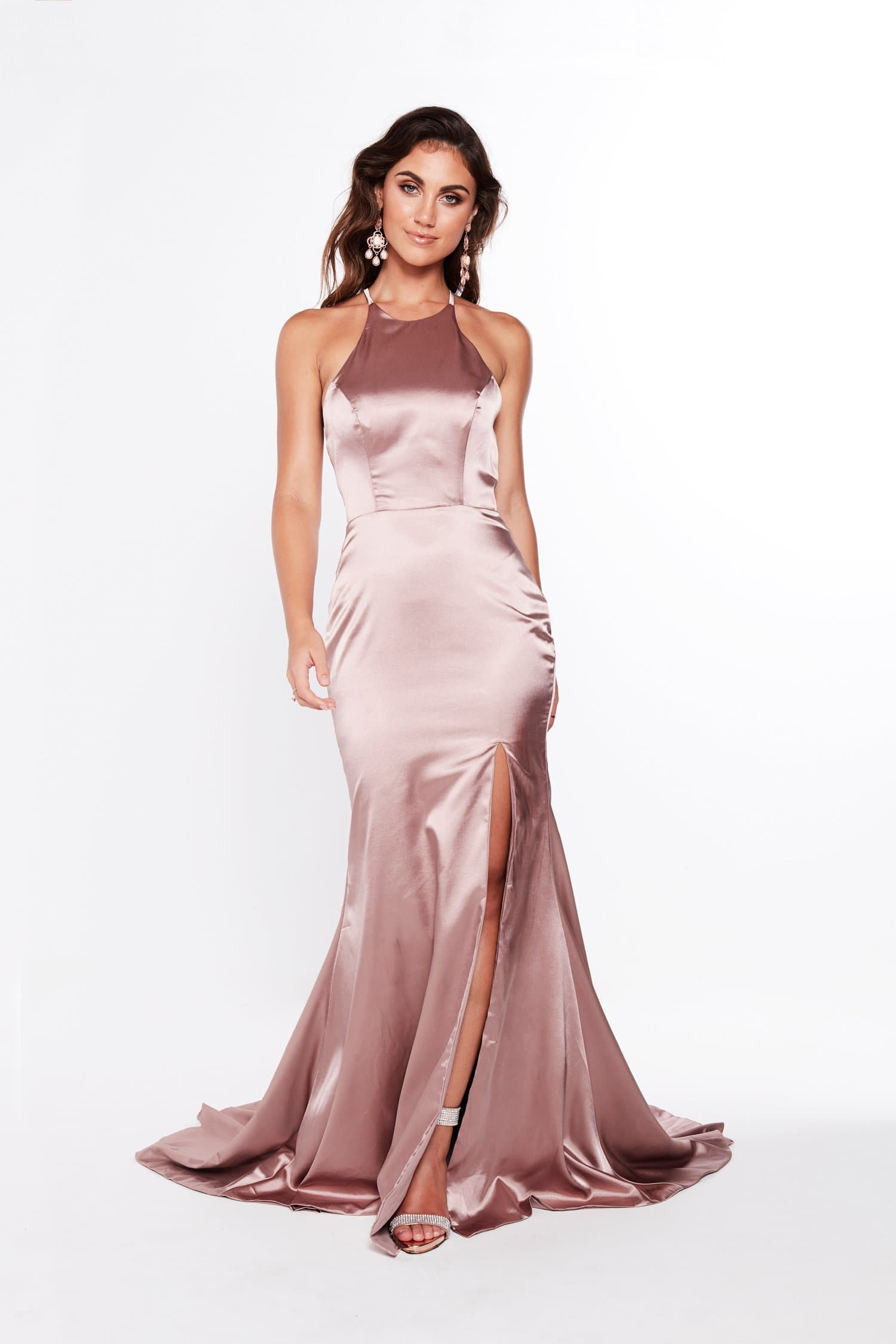 A&N Kiara - Mauve Satin Gown with High Neckline and Side Slit