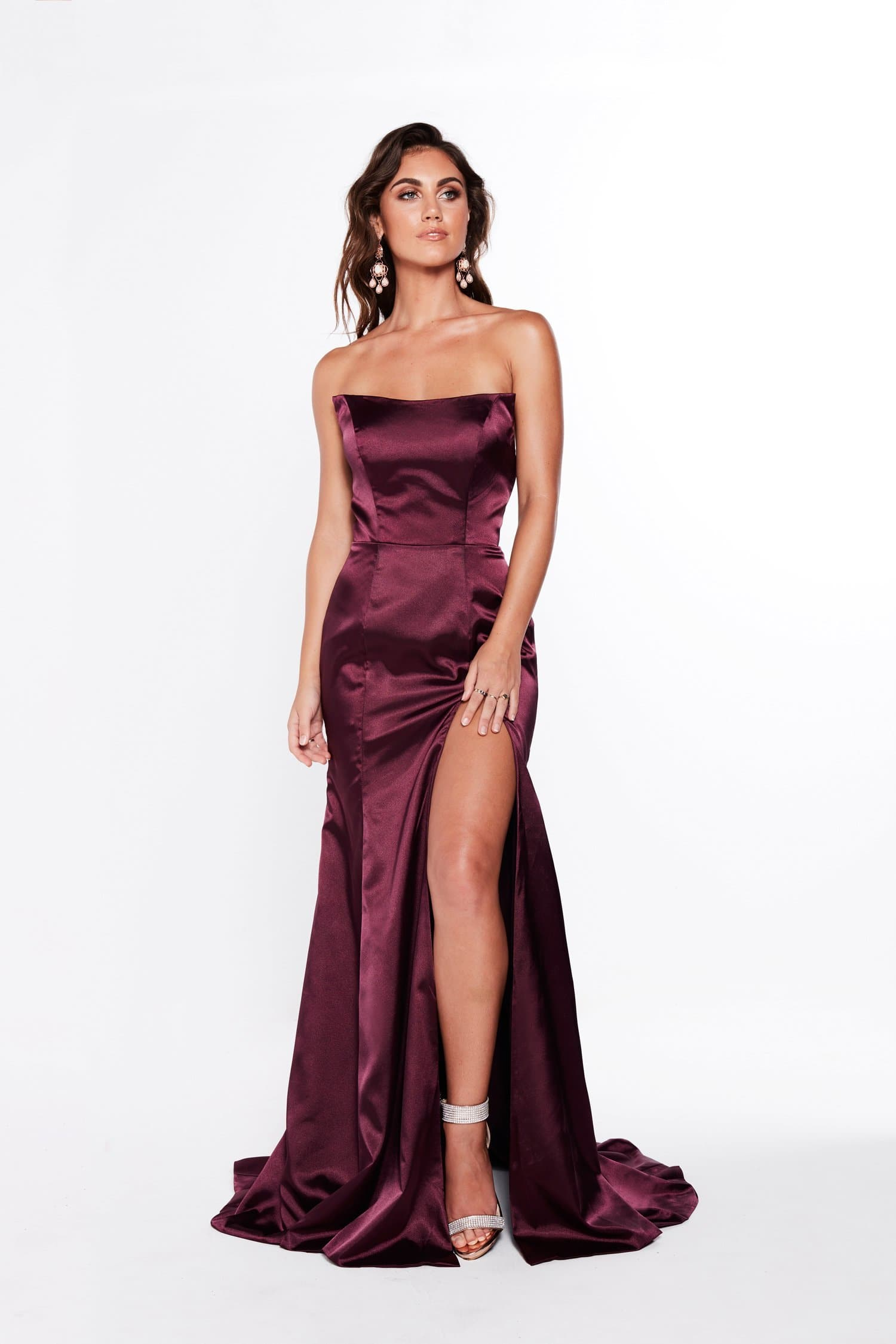 A&N Amelia - Strapless Satin Formal Gown with Side Slit in Violet