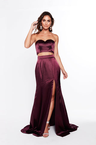 A&N Ivanna - Satin Violet Prom Two Piece with Front Slit