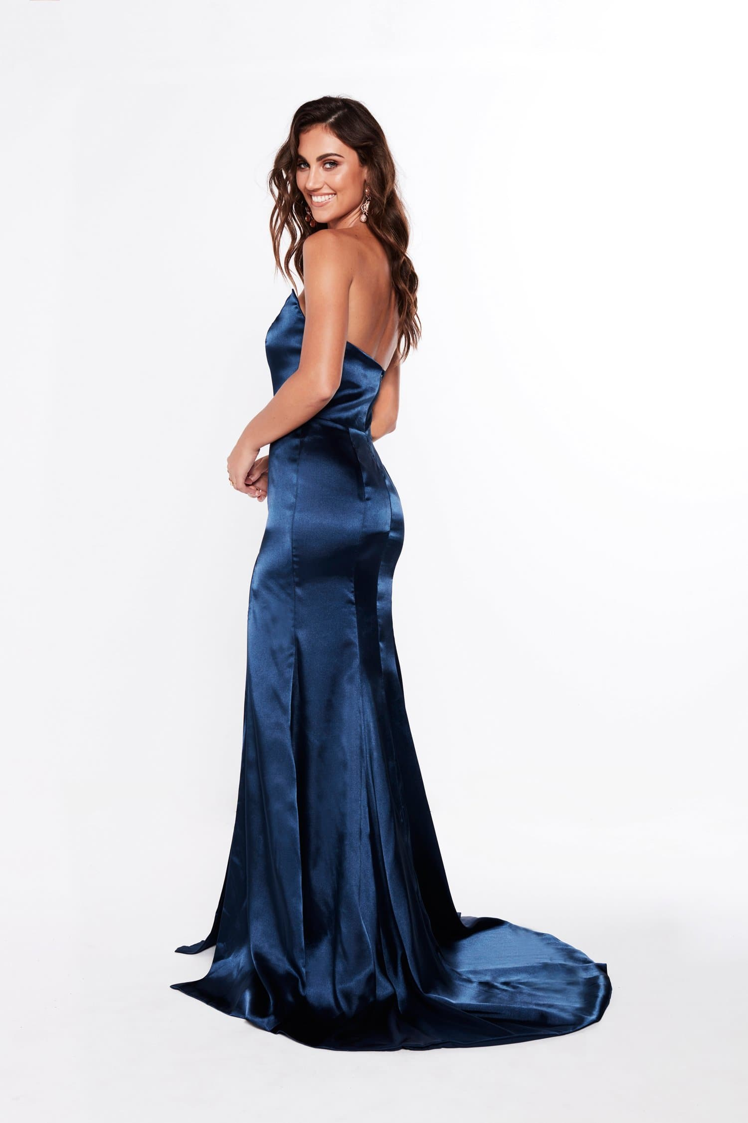 A&N Amelia - Strapless Satin Formal Gown with Side Slit