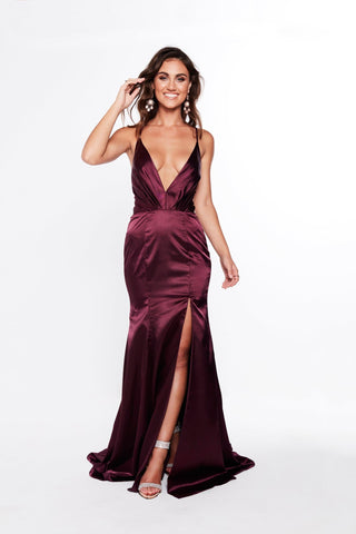 A&N Miranda - Violet Satin Gown with Plunging Neckline and Side Slit