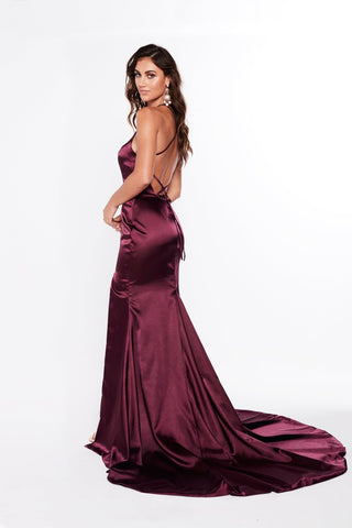 A&N Kiara - Violet Satin High Neck Gown with Lace Up Back & Side Slit