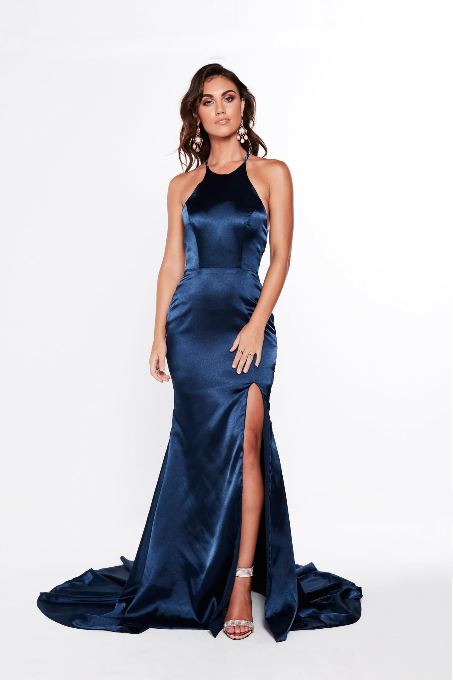A&N Kiara - Navy Satin Gown with Lace Up Back and Side Slit