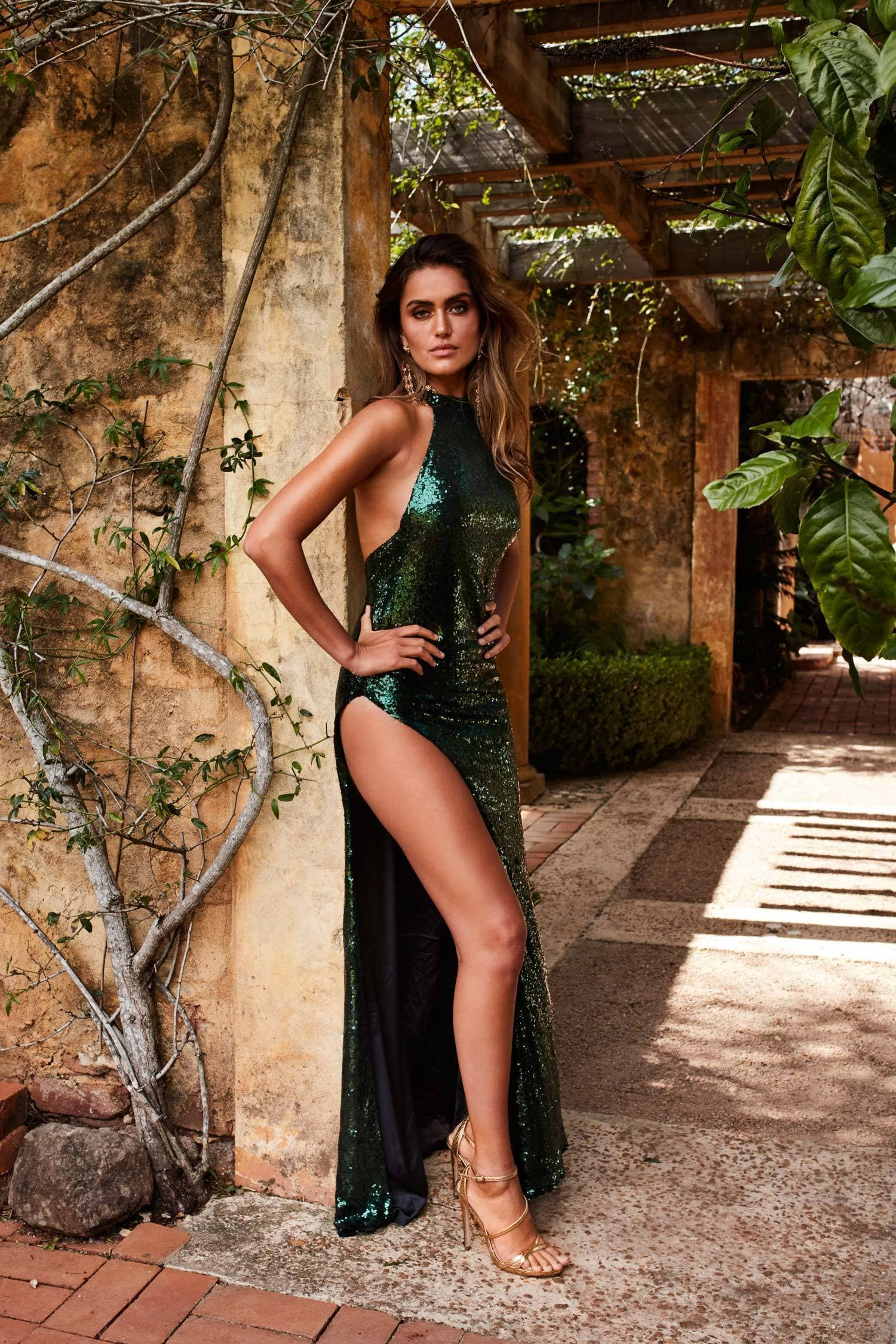 Saint Gown - Emerald Sequins Mermaid Halter Neck Open Back Split Dress