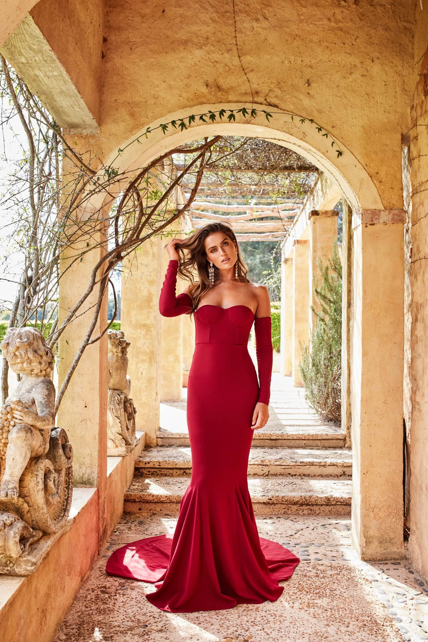 Salma - Wine Red Off Shoulder Dress in Crepe Fabric with Long Sleeves
