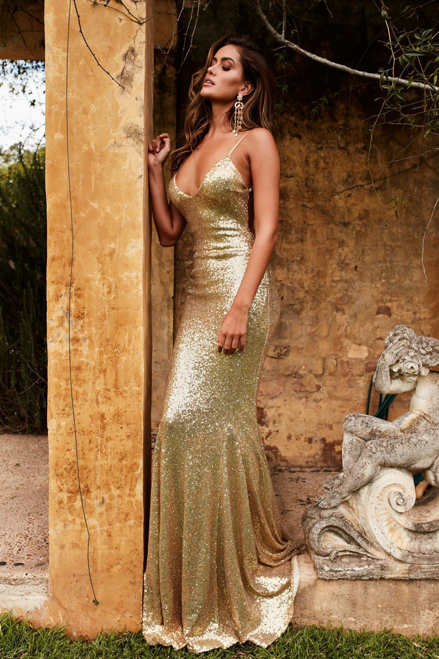 Yassmine Luxe - Gold Backless Sequin Gown with Long Mermaid Train