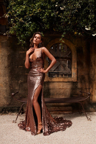 Armanah - Bronze Sequin Gown with V Neckline, Low Back & Side Slit
