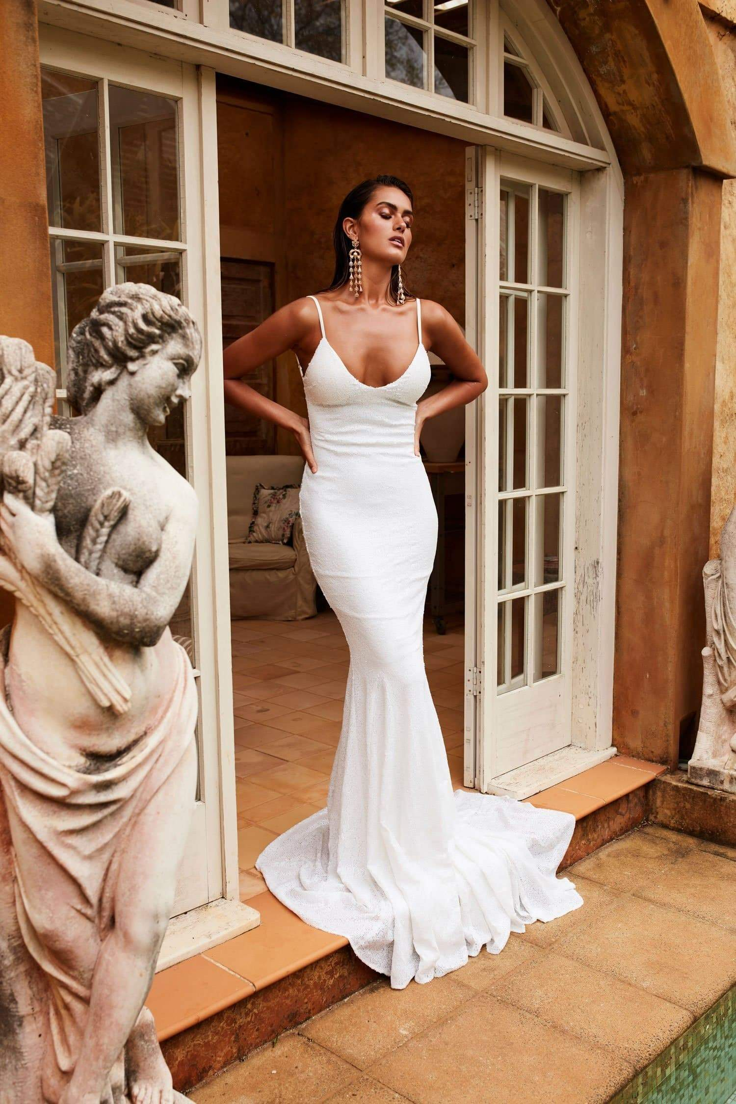8beea5e198a9 ... Yassmine Luxe - White Sequin Gown with Low Back & Mermaid Train ...