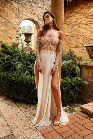 Carli B Formal Gown - Sheer Gold Glitter Off Shoulder White Split Gown