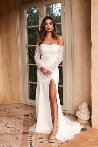 A&N Duaa - White Off-Shoulder Lace Gown with Long Sleeve