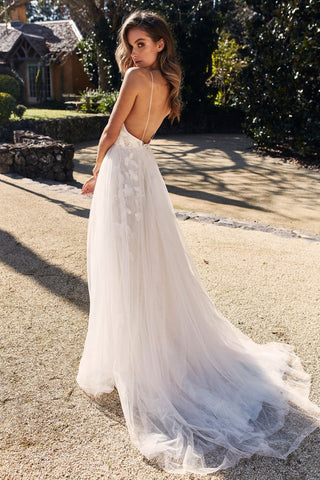 A&N Luxe Ellarose - White Tulle Gown with Plunge Neck and Low Back
