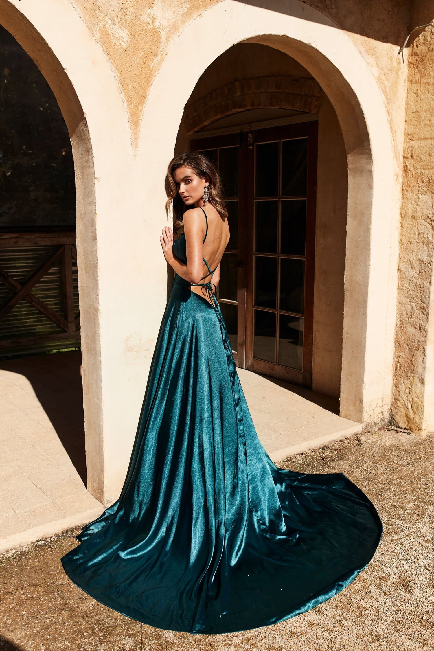 A&N Luxe Bianca Satin Gown W Slit - Teal