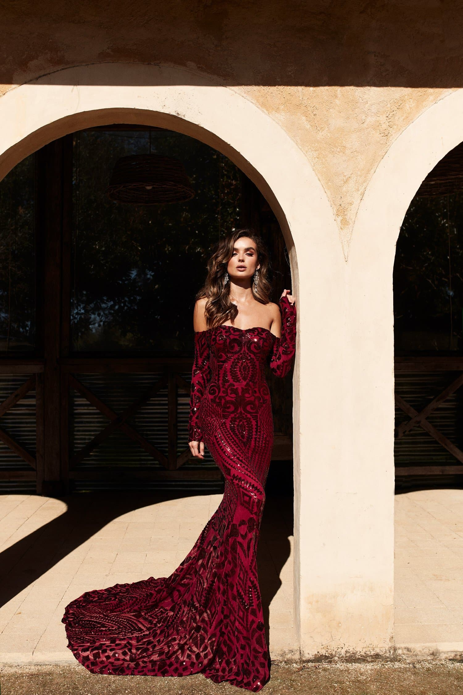 A&N Isidora - Burgundy Sequin Gown with Long Sleeves