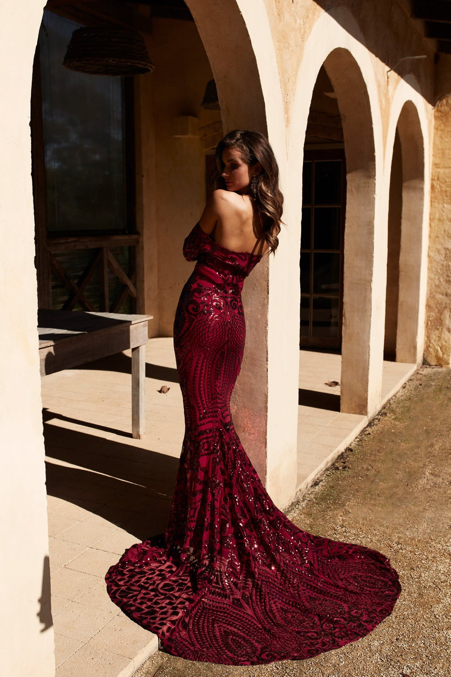 8626cb56b5a A&N Isidora - Burgundy Sequin Gown with Long Sleeves – A&N Luxe Label