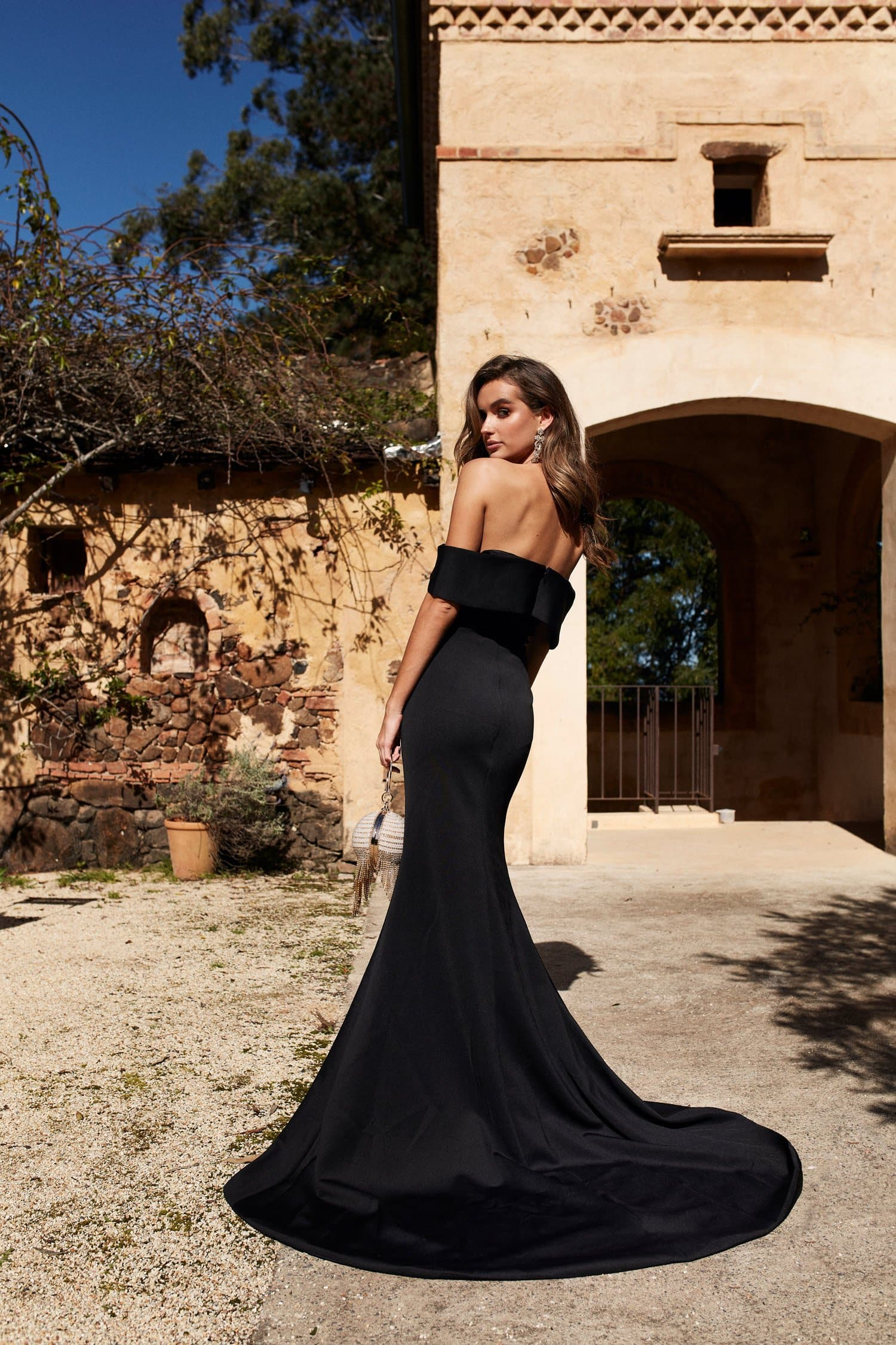 Ester Formal Gown - Black Ponti Off Shoulder Split Mermaid Dress
