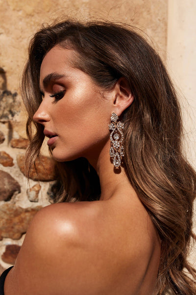 Glazori Gold Chandelier Drop Earrings with White Crystals