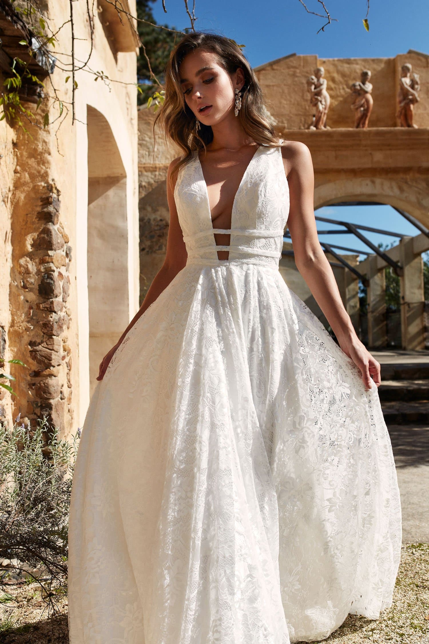 ab206e277e3 A N Talia - White Lace Gown with Plunge V Neck and Low Back – A N ...