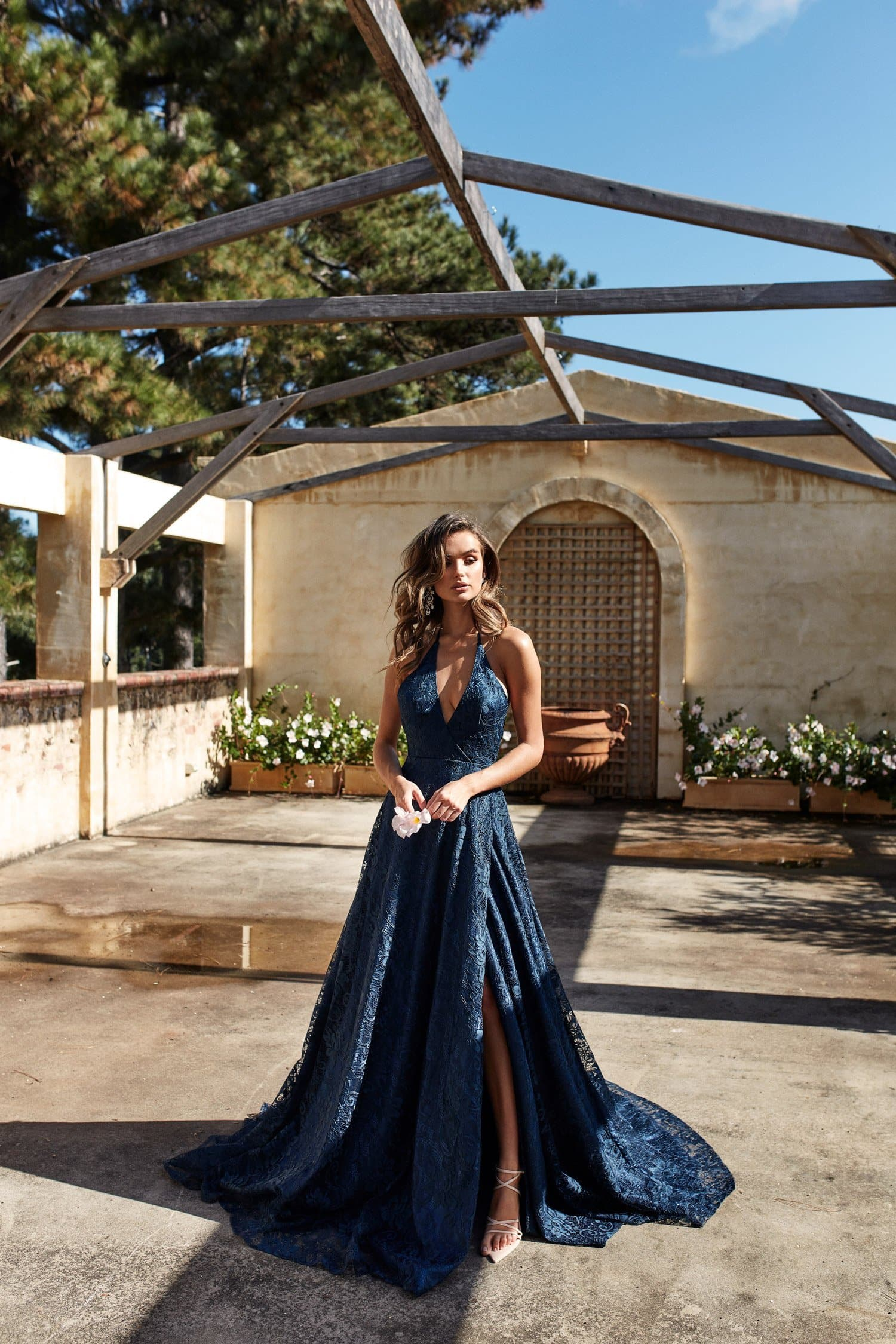 A&N Frida Lace Formal Gown With a Slit Navy Prom Dress